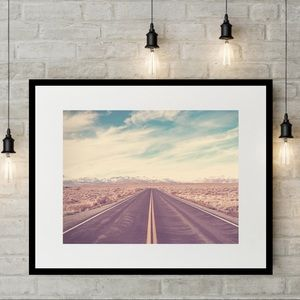 Framed road wall art 14x18